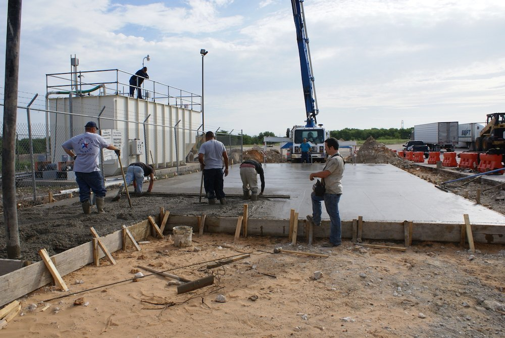 Wastewater treatment plant slab instillation